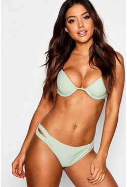 Womens Green Moulded Push Up Underwired Bikini