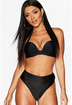 Black Mix & Match Push Up Underwired Moulded Top