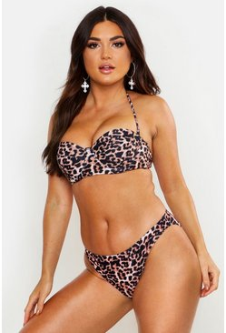 Womens Brown Mix & Match Leopard Print Underwired Top