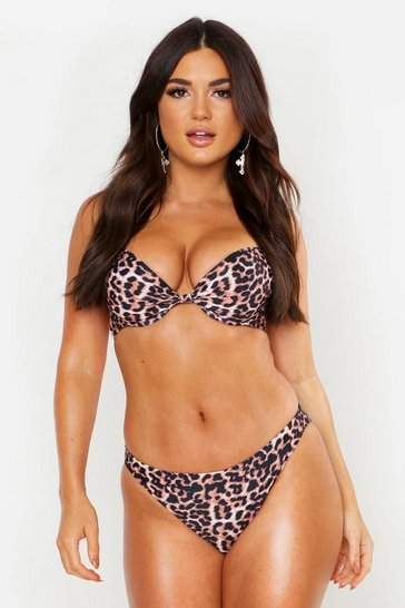 Brown Mix & Match Leopard Print Brief