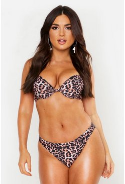 Womens Brown Mix & Match Leopard Print Brief