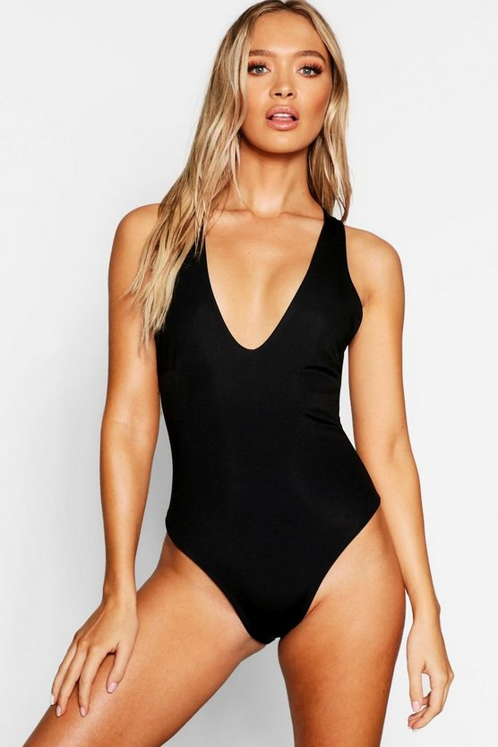 Womens Black Strapping Ring Back Swimsuit