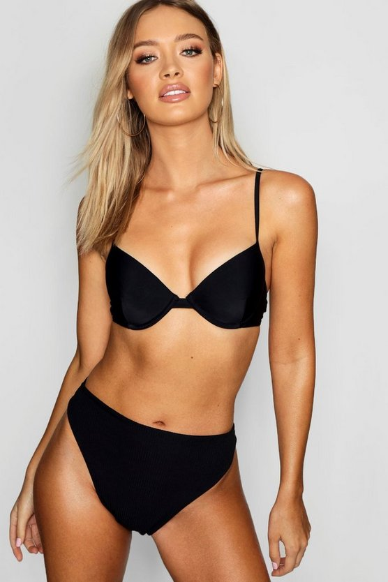 Black Mix & Match Ribbed High Waist High Cut Brief