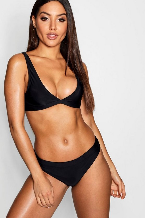 Womens Black Fixed Bikini Brief