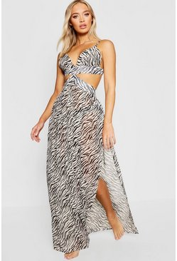 Black Zebra Cut Out Maxi Beach Dress