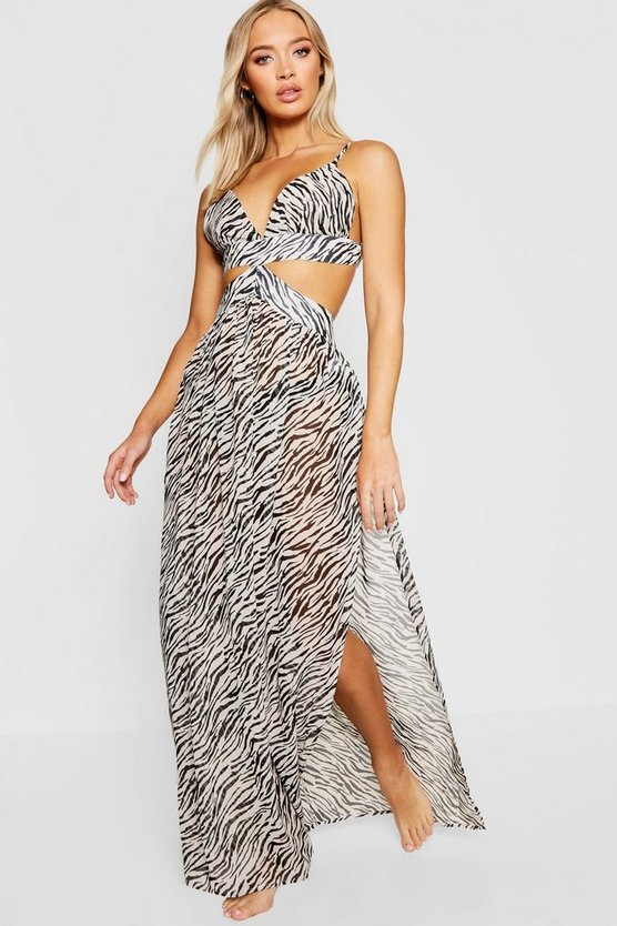 Zebra Cut Out Maxi Beach Dress