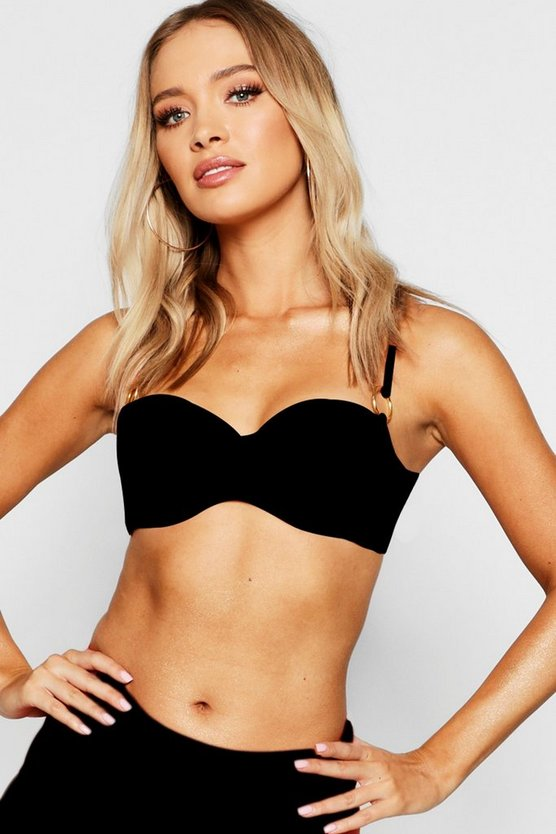 Womens Black Mix & Match Underwired Moulded Bandeau Top
