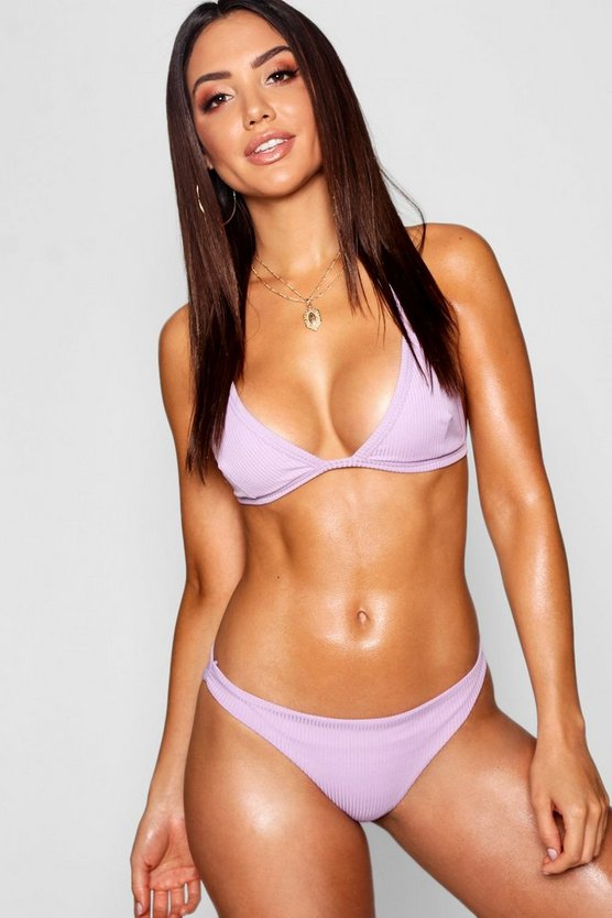 Womens Lilac Mix and Match Ribbed Fixed Brief