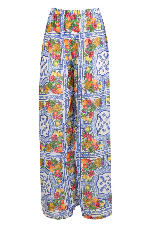 Beach Tile amp; blue Print Trouser Lemon WxqtYw07Y