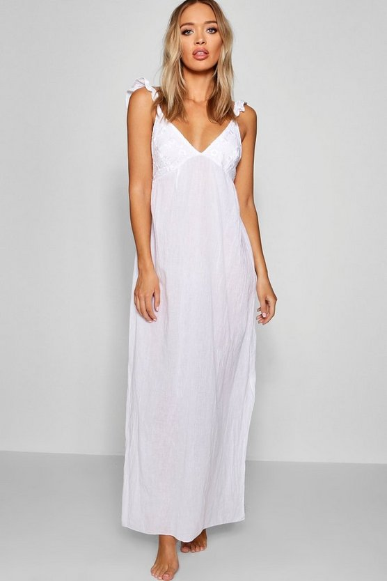 Womens White Anglaise Detail Maxi Beach Dress
