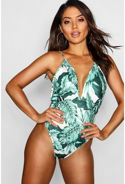 Womens White Tropical Plunge Swimsuit