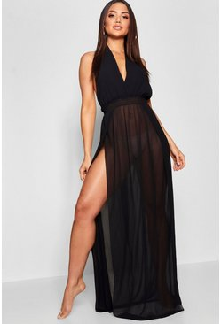 Womens Black Halter Beach Maxi Dress