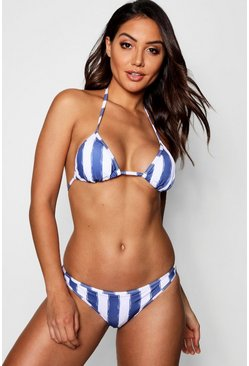 Womens Blue Mix & Match Stripe Fixed Brief