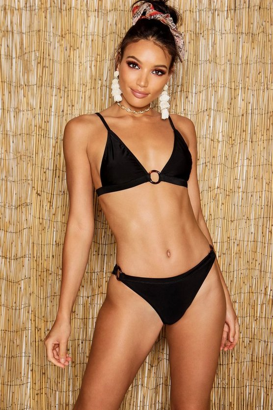 Womens Black Ring Detail Triangle Bikini