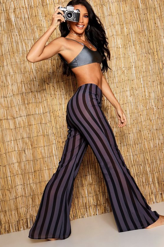 Womens Black Pinstripe Mesh Beach Trousers