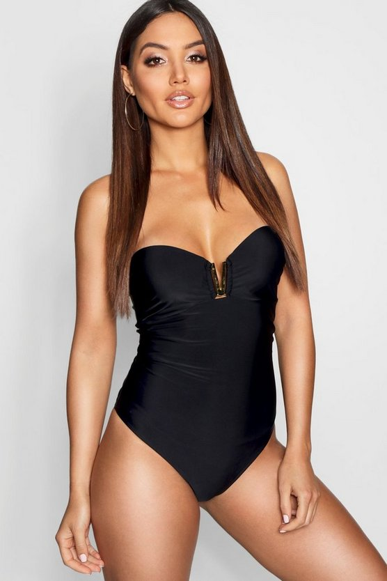 Underwired Bandeau Trim Swimsuit