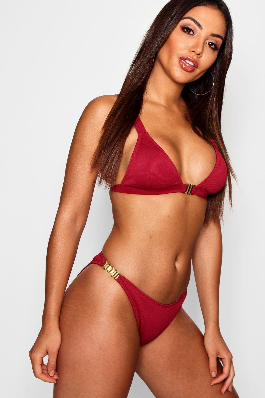 Ribbed Front Fasten Triangle Bikini