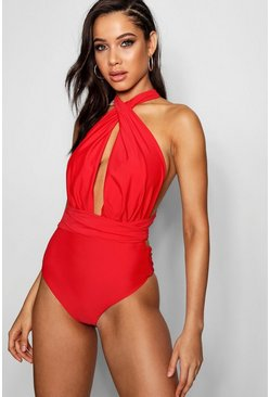 Womens Red Multiway Swimsuit