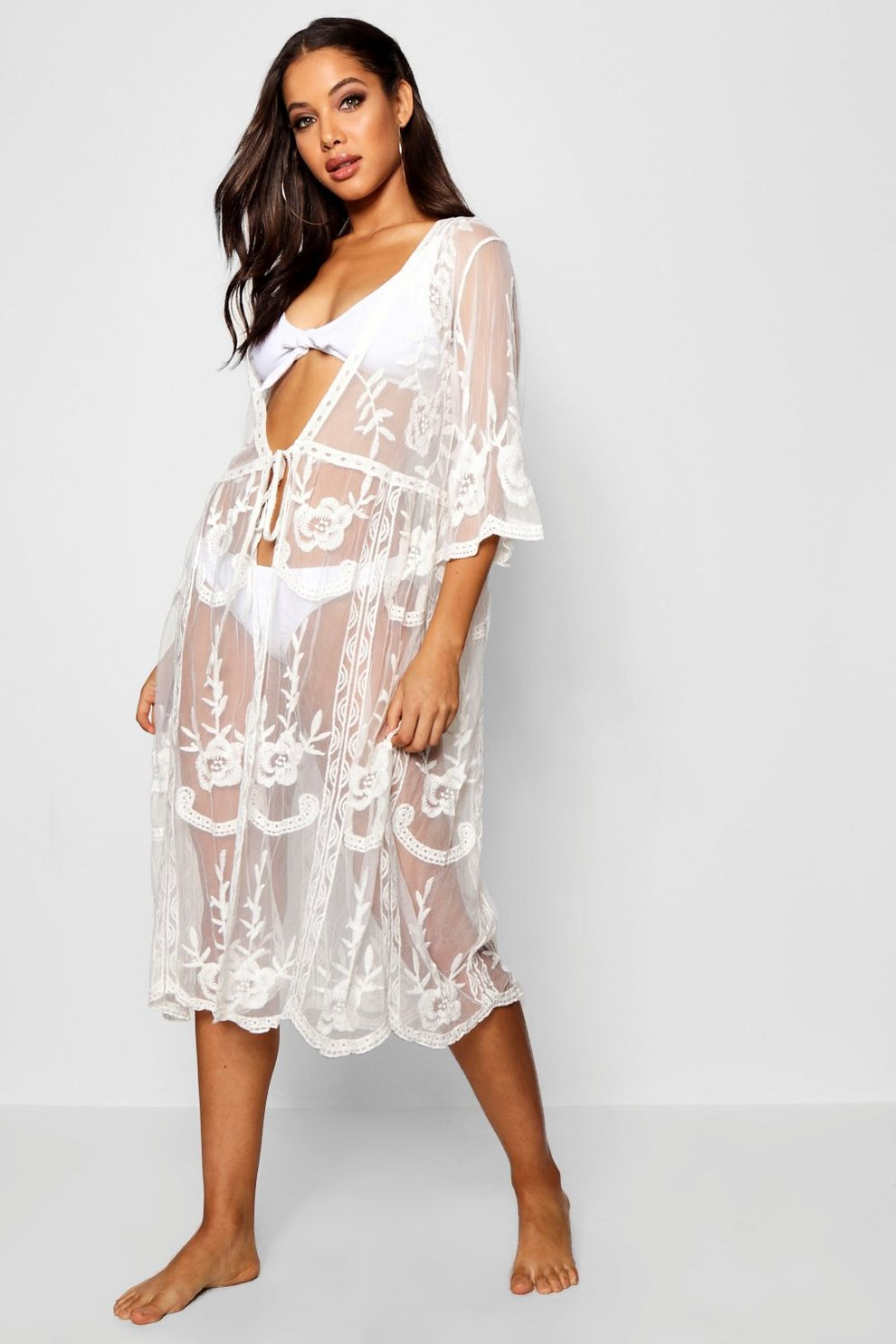 2012693bd2c Embroidered Lace Beach Cover Up