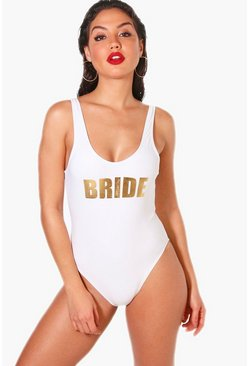 Womens White Bride Slogan Scoop Swimsuit