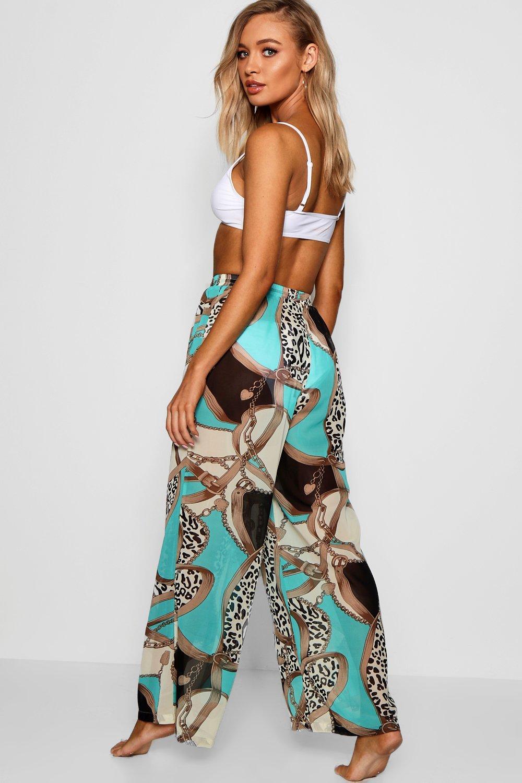 azul estampado cadena Pantalones de de con playa HqnSwYp