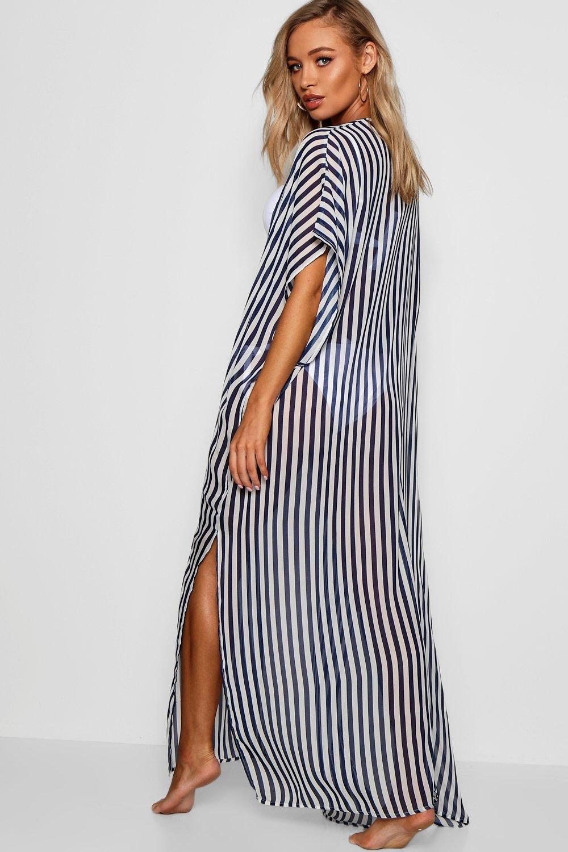 Print Maxi navy Kimono Stripe Beach dSn0wx5dq