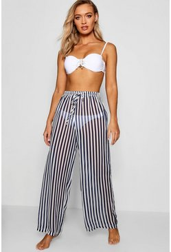 Womens Navy Stripe Beach Trouser