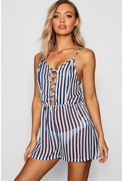 Navy Stripe Print Lace Up Beach Playsuit