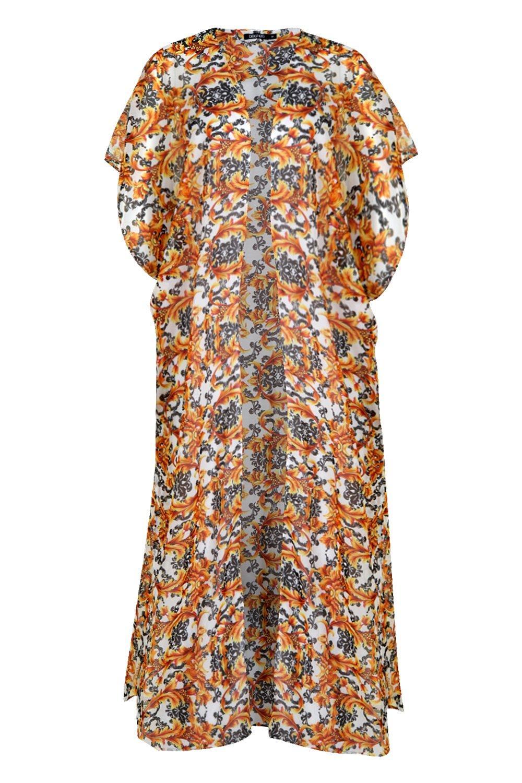 maxi de de naranja estampado Kimono con cadena playa P5vwWdq