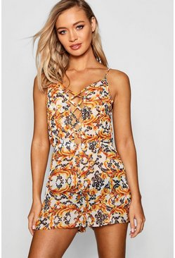 Womens Orange Sadie Chain Print Lace Up Beach Playsuit