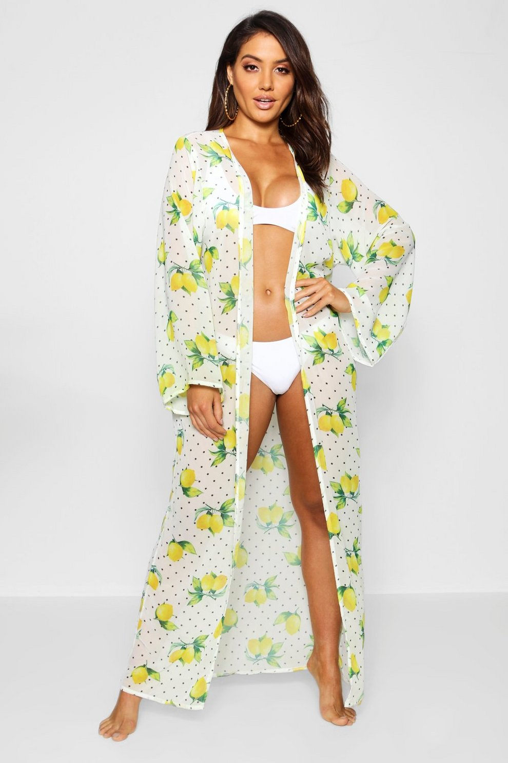 a44e7d524a369 Lemon Print Maxi Beach Kimono   Boohoo