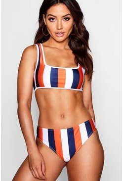 Womens Orange Kos Mix & Match School Stripe Fixed Brief