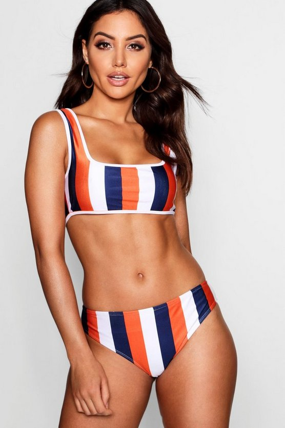 Womens Orange Kos Mix & Match School Stripe Scoop Bikini Top