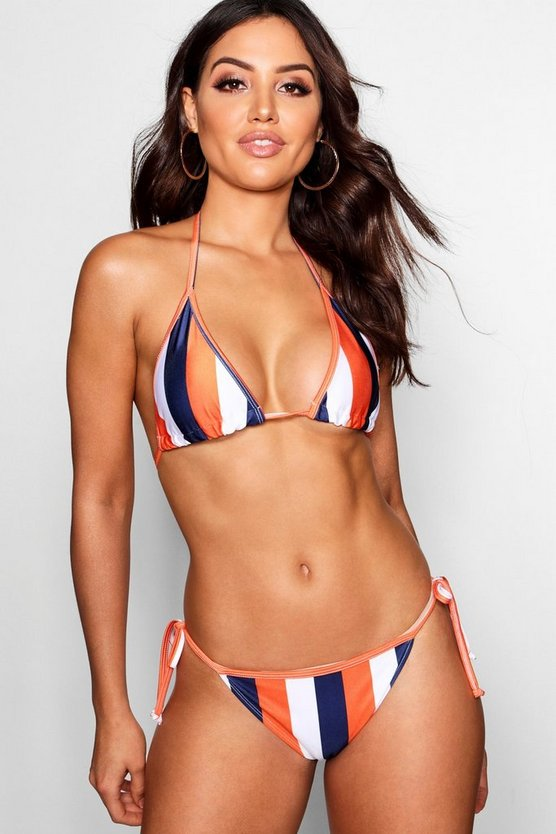 Womens Orange Kos Mix & Match School Stripe Triangle Bikini Top