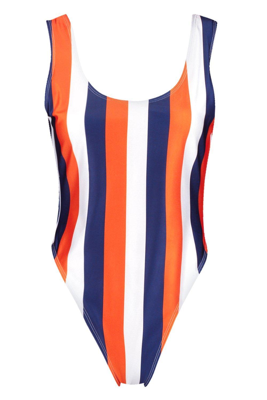 alta y Bañador a pierna con naranja rayas School redondeado escote tXxtrq