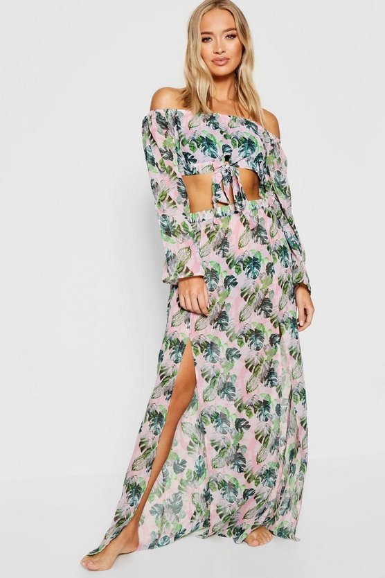 Green Banana Leaf Bardot Maxi Beach Co-ord