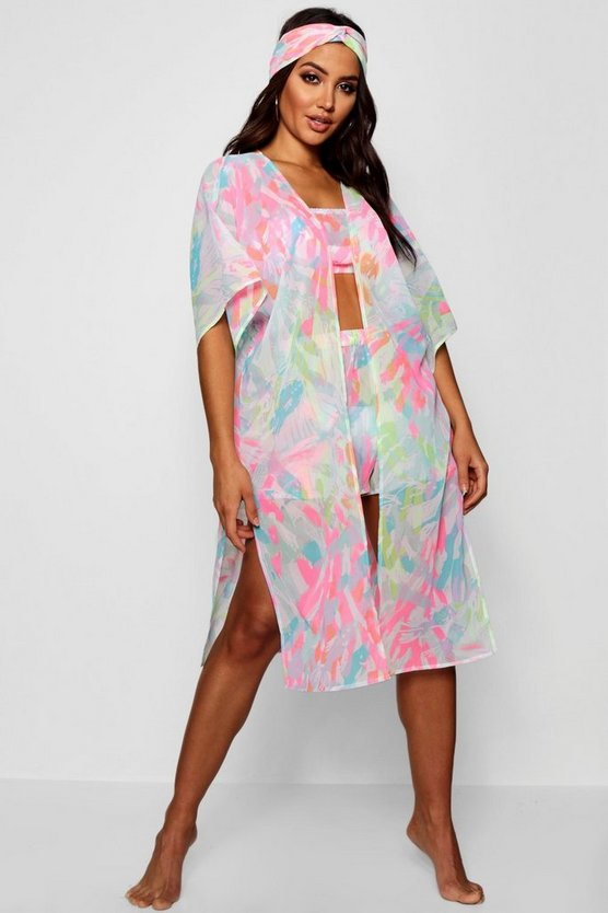 Womens Pink Neon Tropix Four Piece Beach Co-ord