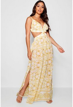 Scarf Print Cut Out Maxi Beach Dress, White, Donna