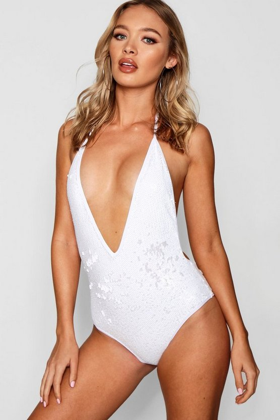 Womens White All Over Sequin Swimsuit