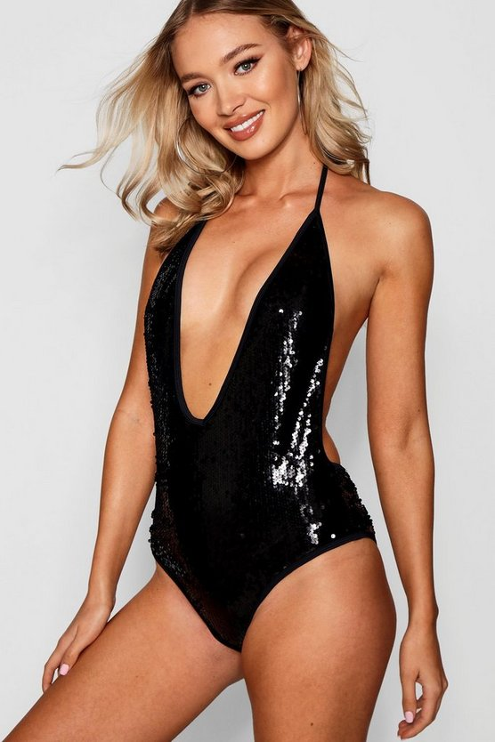 All Over Sequin Plunge Swimsuit