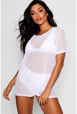 Womens White Holly Mesh Oversized Beach T-Shirt Dress
