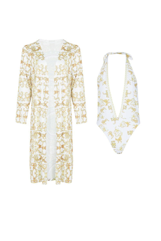 Set Print Kavos amp; Swimsuit white Kimono Chain XRRwqv