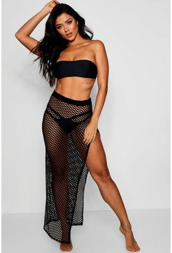 Womens Black Net Maxi Beach Skirt