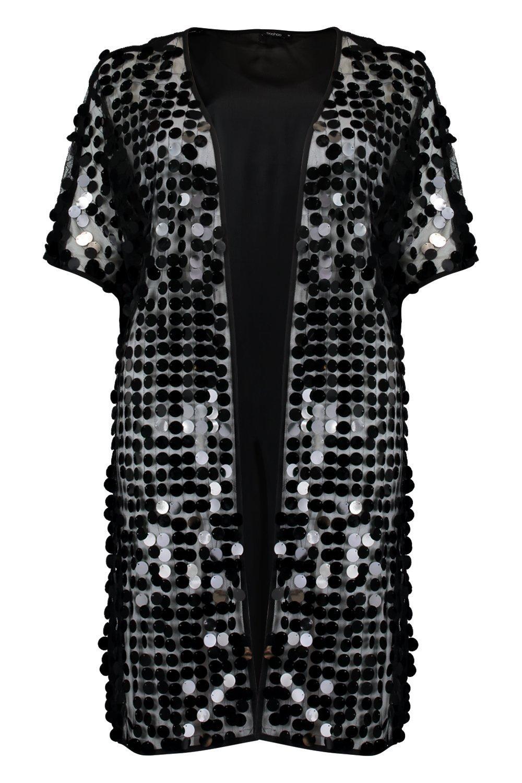 de lentejuelas malla de maxi Kimono negro con playa nOXzUqg