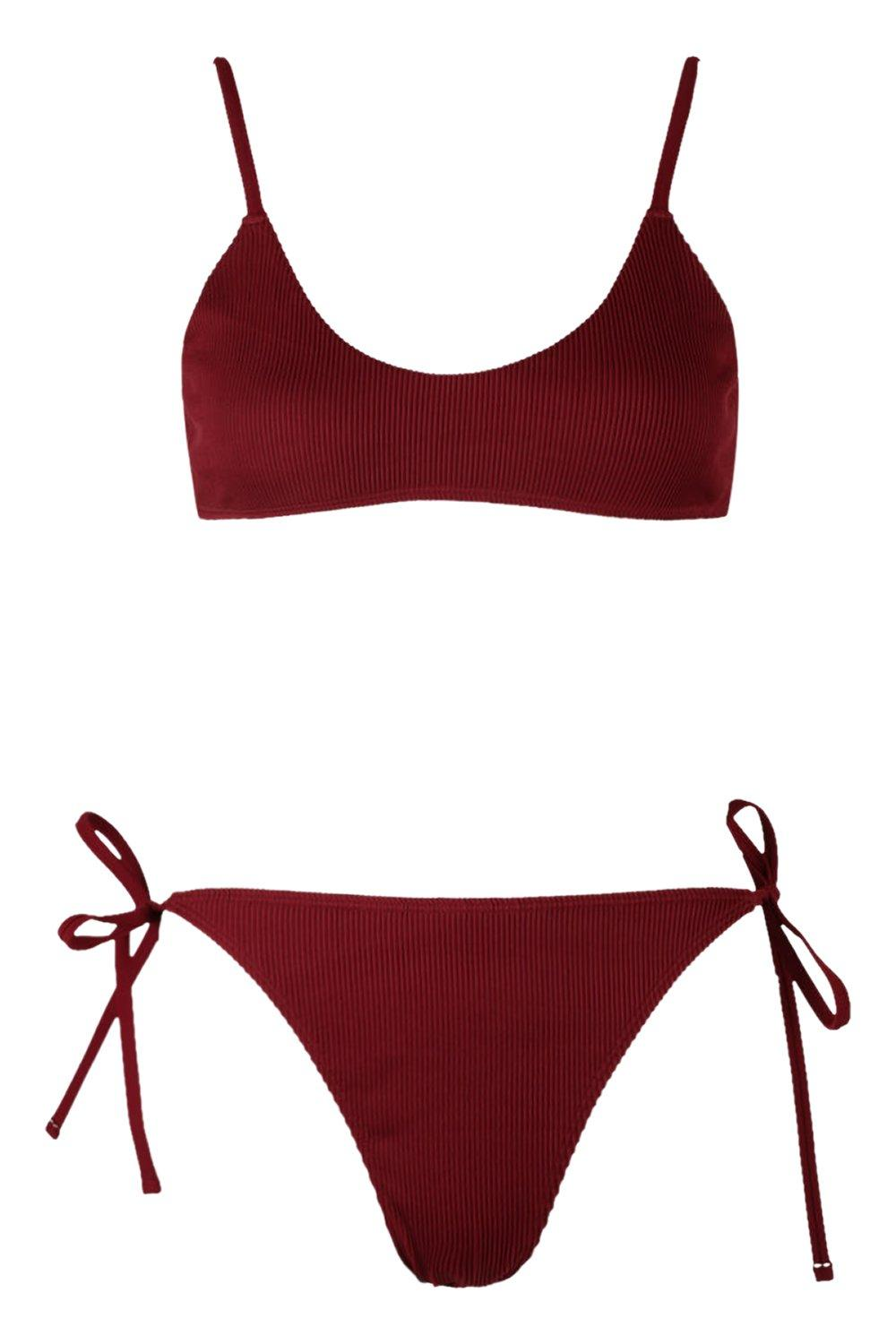 Back Crop Bikini Tie red Ribbed wXq508g