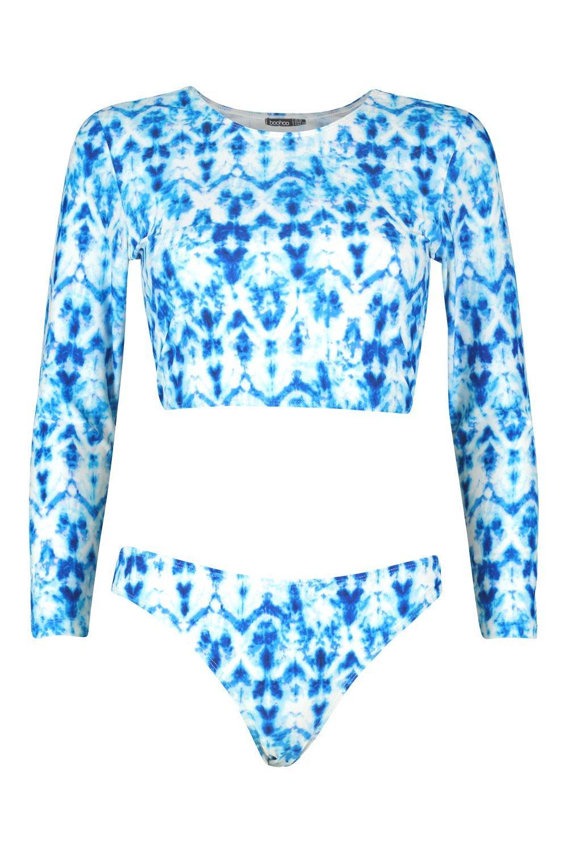 Set Dye Tie Lace Canary Up Rashgaurd blue zwx6qX