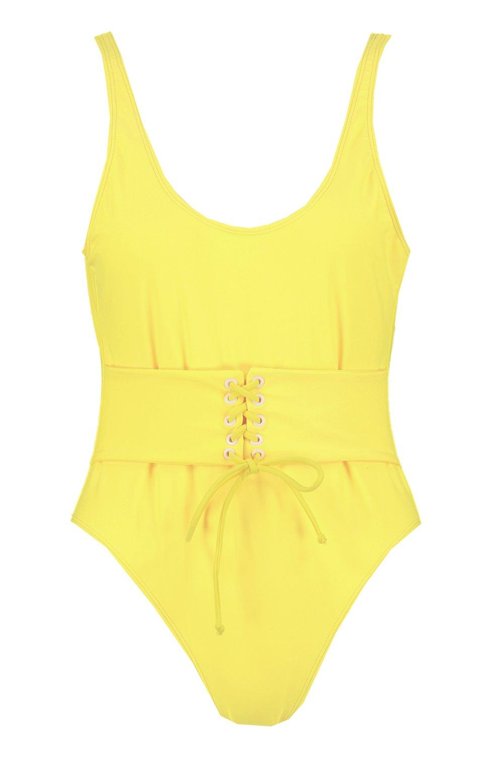 Waist Eyelet Eyelet Swimsuit yellow Swimsuit Enhance Waist Waist Eyelet yellow Enhance w6qxxB4U
