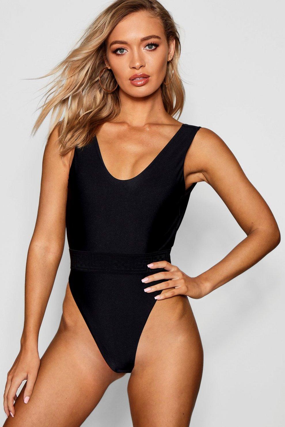 d778c5bc0e7 Nice High Leg Elastic Waist Swimsuit