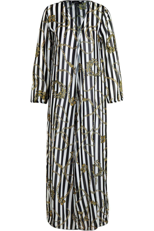 monocromáticas playero a Kimono rayas cadena maxi negro y avRwn1