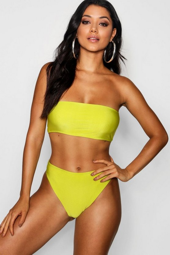 Womens Neon-green Bandeau High Waist Bikini